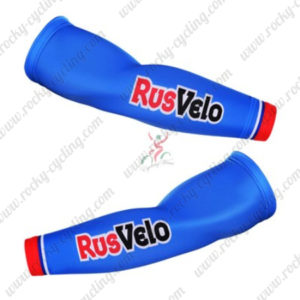 2016 Team RusVelo Cycling Arm Warmers Sleeves Blue