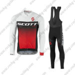 2017 Team SCOTT Cycling Long Bib Suit White Black Red
