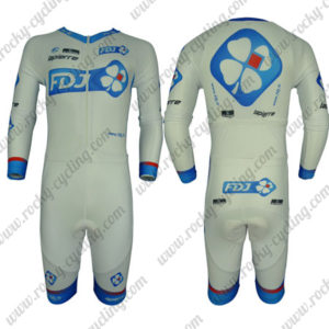 2013 Team FDJ Long Sleeves Triathlon Cycling Outfit Skinsuit White Blue
