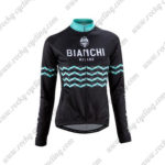 2016 Team BIANCHI MILANO Cycling Long Sleeves Jersey Black Blue Waves