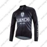 2016 Team BIANCHI MILANO Cycling Long Sleeves Jersey Black Grey