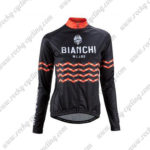 2016 Team BIANCHI MILANO Cycling Long Sleeves Jersey Black Orange Waves