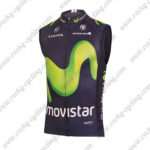 2016 Team Movistar Cycling Vest Sleeveless Waistcoat Rain-proof Windbreak Blue