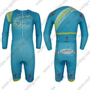 2017 Team ASTANA Long Sleeves Triathlon Cycling Outfit Skinsuit Blue