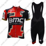2017 Team BMC Riding Bib Kit Red Black White