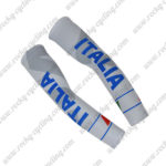 2017 Team ITALIA Cycling Arm Warmers Sleeve White Grey Blue