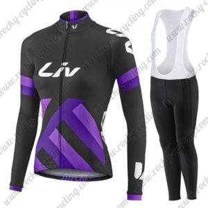 2017 Team Liv Womens Ladies Bike Riding Long Sleeves Bib Kit Black Purple