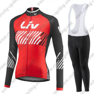 2017 Team Liv Womens Ladies Biking Long Sleeves Bib Suit Red Black