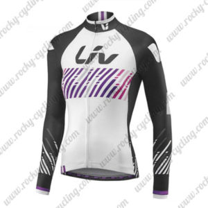 2017 Team Liv Womens Ladies Cycling Long Jersey Maillot White Black Purple