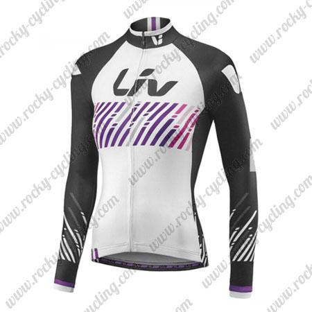 2017 Team Liv Womens Ladies Cycling Long Jersey Maillot White Black Purple 459efe6f0