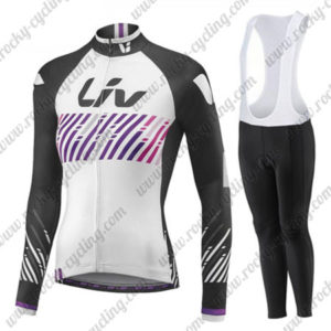 2017 Team Liv Womens Ladies Cycling Long Sleeves Bib Suit White Black Purple