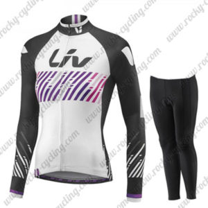 2017 Team Liv Womens Ladies Cycling Long Suit White Black Purple