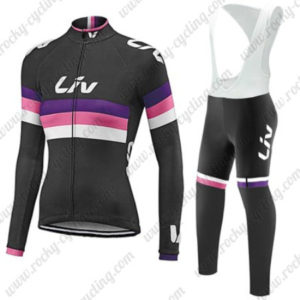 2017 Team Liv Womens Lady Cycling Long Bib Suit Black Red Purple