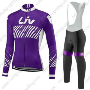 2017 Team Liv Womens Lady Cycling Long Bib Suit Purple