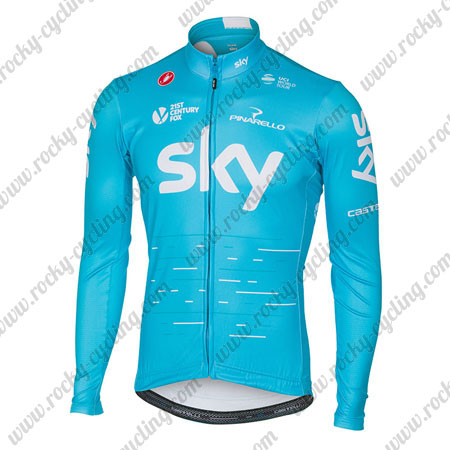 ... Winter Cycle Wear Thermal Fleece Riding Long Sleeves Jersey Maillot  Blue. 2017 Team SKY Castelli Cycling Long Jersey Maillot Blue White ca0103248
