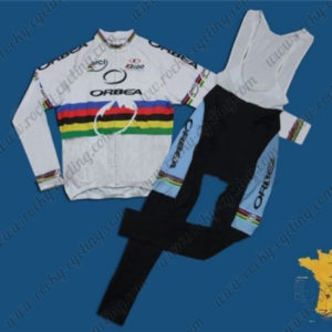 2012 Team ORBEA UCI Champion Cycling Long Bib Suit White Rainbow