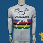 2012 Team ORBEA UCI Champion Cycling Long Sleeves Jersey Maillot White Rainbow