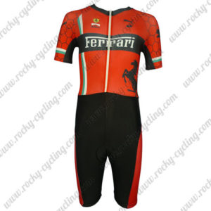 2013 Team FERARI Short Sleeves Triathlon Biking Apparel Skinsuit Red Black