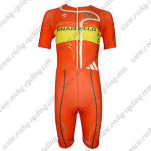 2013 Team PINARELLO Short Sleeves Triathlon Biking Apparel Skinsuit Red Yellow