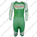 2013 Team Sojasun Long Sleeves Triathlon Cycling Wear Skinsuit Green