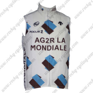 2014 Team AG2R LA MONDIALE Cycling Vest Sleeveless Waistcoat Rain-proof Windbreak White