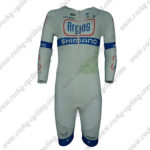 2014 Team Argos SHIMANO Long Sleeves Triathlon Cycling Wear Skinsuit White Blue