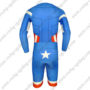 2015 Captain America Long Sleeves Triathlon Riding Wear Skinsuit Blue