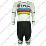 2015 Team BMC UCI Champion Long Sleeves Triathlon Cycling Wear Skinsuit White Rainbow