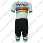 2015 Team BMC UCI Champion Short Sleeves Triathlon Riding Wear Skinsuit White Rainbow