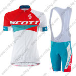 2015 Team SCOTT Women's Lady Cycling Bib Kit Red Blue White