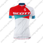 2015 Team SCOTT Women's Lady Cycling Jersey Maillot Shirt Red Blue White