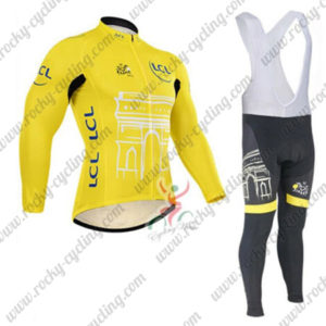 2015 Team Tour de France Cycling Long Bib Suit Yellow