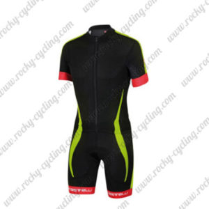 2016 Team Castelli Short Sleeves Triathlon Biking Apparel Skinsuit Black Yellow