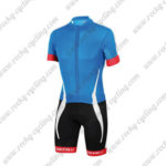 2016 Team Castelli Short Sleeves Triathlon Cycle Wear Skinsuit Blue Black