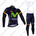 2016 Team Movistar Spain Cycling Long Bib Suit Blue
