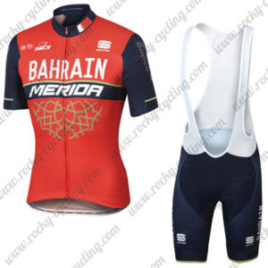 2017 Team BAHRAIN MERIDA Cycle Bib Kit Red