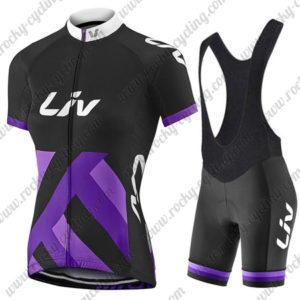 2017 Team Liv Women's Lady Bike Riding Bib Kit Black Purple