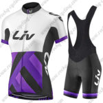 2017 Team Liv Women's Lady Bike Riding Bib Kit White Black Purple