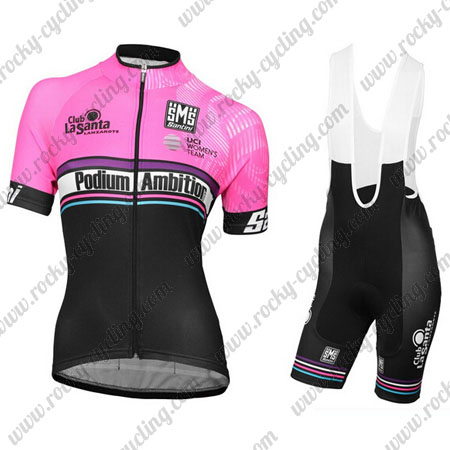 2017 Team Podium Ambition Santini Womens Ladies  Riding Outfit Cycle Jersey  and Padded Bib Shorts Pink Black 839170538