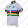 2010 Team Santini UCI Champion Biking Jersey Maillot Shirt White Rainbow