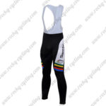 2010 Team Santini UCI Champion Cycling Bib Long Pants Tights Black White Rainbow
