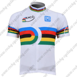 2010 Team Santini UCI Champion Cycling Jersey Maillot Shirt White Rainbow