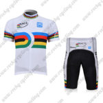 2010 Team Santini UCI Champion Cycling Kit White Rainbow