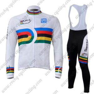 2010 Team Santini UCI Champion Cycling Long Bib Suit White Rainbow