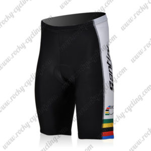 2010 Team Santini UCI Champion Cycling Shorts Bottoms Black White Rainbow