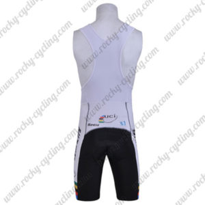 2010 Team Santini UCI Champion Riding Bib Shorts Bottoms Black White Rainbow