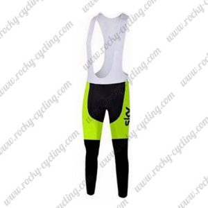 2015 Team SKY Cycling Long Bib Pants Tights Black Yellow