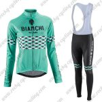 2016 Team BIANCHI Women Lady Riding Long Bib Suit Green
