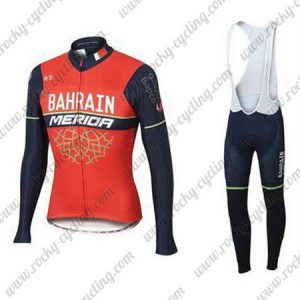 2017 Team BAHRAIN MERIDA Cycling Long Bib Suit Red Blue