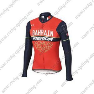 2017 Team BAHRAIN MERIDA Cycling Long Jersey Red Blue